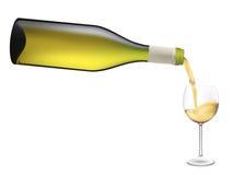 Het witte wijn gieten in wijnglas. Royalty-vrije Illustratie