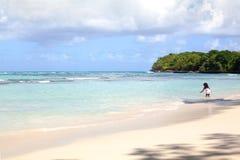 Het witte zand eenzame strand, het blauwe overzees, de groene palmen, de eilandachtergrond en een klein meisje raken het water in stock foto's