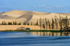 Wit zandduin in Mui Ne, Vietnam Stock Fotografie