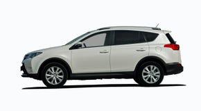 Het witte zijaanzicht van SUV Royalty-vrije Stock Afbeelding