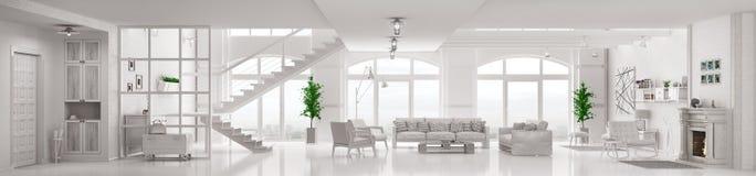 Het witte zolderflat binnenlandse 3d teruggeven stock illustratie