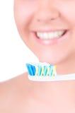Het witten van tanden. Tand zorg Stock Fotografie