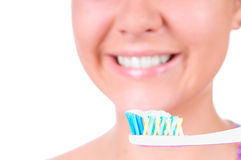 Het witten van tanden. Tand zorg Stock Afbeelding