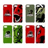 Het woedende piranha, rams, slang en dinosaurusgeval van de het concepten slimme telefoon van het sport vectorembleem Stock Foto's