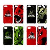 Het woedende piranha, rams, slang en dinosaurusgeval van de het concepten slimme telefoon van het sport vectorembleem Stock Foto