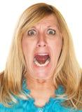 Het woedende vrouw gillen stock fotografie