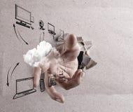 Het wolk gegevensverwerkingssymbool stock illustratie