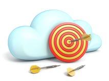 Het wolkenpictogram met dartboard richt 3D royalty-vrije illustratie