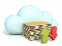 Het wolkenpictogram met download en uploadt 3D pijlen stock illustratie