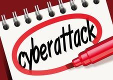 Het woord cyberattack teken op een blocnote vector illustratie
