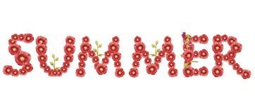 Het woord de 'Zomer ' Rode inschrijving op witte achtergrond royalty-vrije illustratie