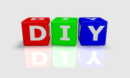 Het woord DIY van de kubus Stock Afbeeldingen