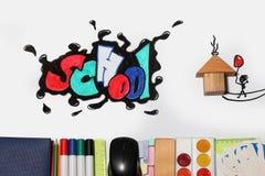 Het woord en de levering van de graffitischool Stock Foto