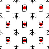 Het woord Japan geschreven hiërogliefen en rode zon vector illustratie
