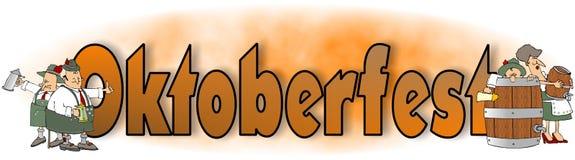 Het woord Oktoberfest met Beierse karakters Royalty-vrije Stock Afbeeldingen