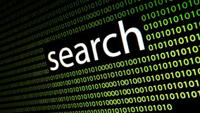 Het woord` onderzoek ` op lcd het scherm Stock Foto