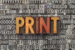 Het woord van af:drukken in letterzetseltype stock foto