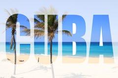 Het woord van Cuba stock afbeeldingen