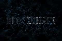 Het woord van de Blockchainwolk op abstracte donkerblauwe achtergrond royalty-vrije illustratie