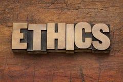 Het woord van de ethiek in houten type Stock Afbeelding