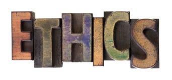 Het woord van de ethiek in uitstekend houten letterzetseltype royalty-vrije stock fotografie