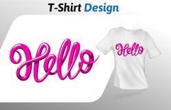 Het woord van de frambozenkleur hello, t-shirtdruk Spot op het malplaatje van het t-shirtontwerp Vectordiemalplaatje, op wit word Royalty-vrije Stock Afbeelding