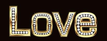 Het woord van de liefde in het bling van het bling Stock Afbeeldingen