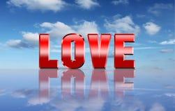 Het woord van de liefde over hemelachtergrond Royalty-vrije Stock Afbeeldingen