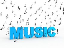 Het woord van de muziek met vliegende muzieknoten Stock Foto's