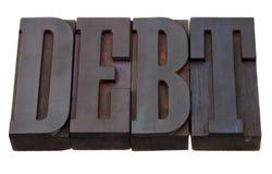 Het woord van de schuld in lettepresstype Stock Afbeeldingen