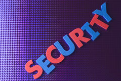 Het woord van de veiligheid op blauwe neonachtergrond Stock Foto's