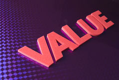 Het woord van de waarde op blauwe neonachtergrond Royalty-vrije Stock Afbeelding