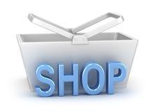 Het woord van de winkel met mand op achtergrond Stock Afbeelding