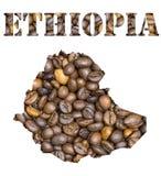 Het woord van Ethiopië en de kaart van het land met de achtergrond die van koffiebonen gestalte wordt gegeven Royalty-vrije Stock Foto