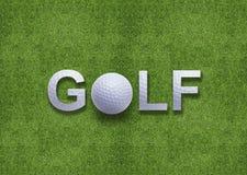 Het woord van het golf dat van golfbal wordt gecre?ërd Stock Afbeeldingen