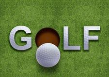Het woord van het golf op groen gras Stock Foto