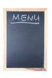 Het woord van het menu dat op bord wordt geschreven Royalty-vrije Stock Foto