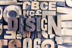 Het woord van het ontwerp op letterzetsel Stock Fotografie