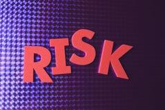 Het woord van het risico op blauwe neonachtergrond Stock Foto's