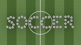 Het woord van het voetbal op groen grasgebied Stock Afbeeldingen