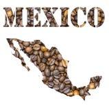 Het woord van Mexico en de kaart van het land met de achtergrond die van koffiebonen gestalte wordt gegeven Stock Fotografie