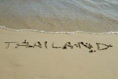 Het woord van Thailand op het strand Stock Afbeelding