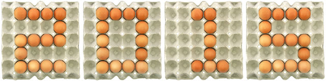 het woord van 2015 van eieren in document dienblad Stock Foto's