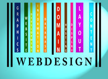 Het woord van Webdesign op gekleurde streepjescode Royalty-vrije Stock Afbeelding