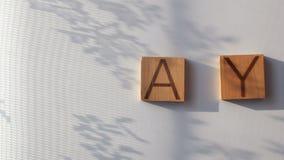 Het woord ` wordt DAG ` opgemaakt in houten brieven stock video