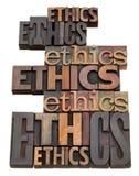 Het woordcollage van de ethiek stock foto
