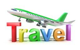 Het woordconcept van de reis met vliegtuig dat op wit wordt geïsoleerdk Royalty-vrije Stock Fotografie