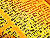 Het woordenboek geeft Stock Foto's