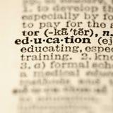 Het woordenboekingang van het onderwijs. stock foto's