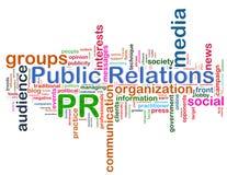 Het woordmarkeringen van public relations Royalty-vrije Stock Foto's